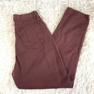 Vtg Hi Waist Mom Jeans Burgundy Tapered Leg 26""